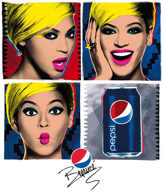 Beyonce Live for Now Pepsi Pop Art Ad