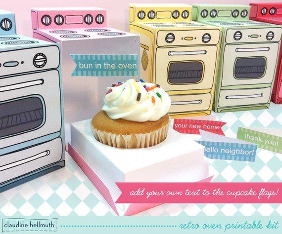Retro Oven Cupcake Box by claudinehellmuth on Etsy