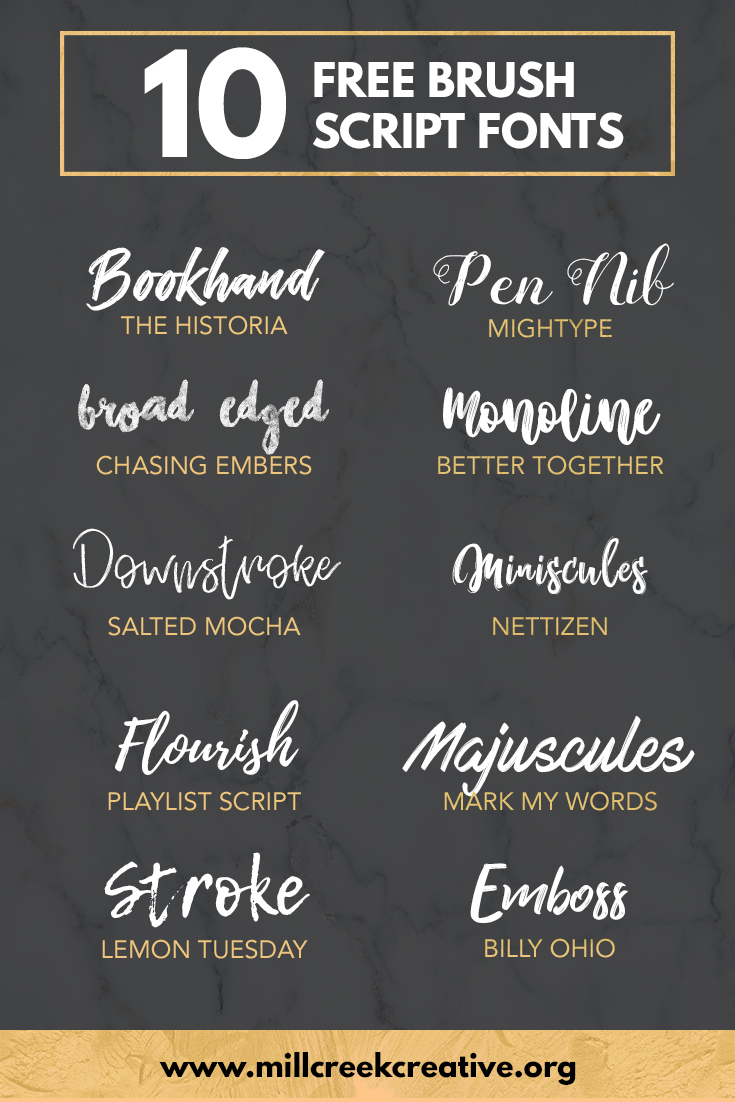 10 Free Brush Script Fonts | Mill Creek Creative