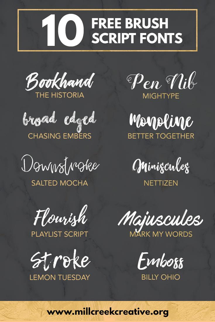 10 Free Brush Script Fonts   Mill Creek Creative