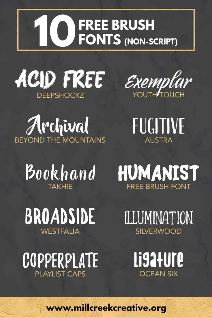 10 Free Non-Script Brush Fonts | Mill Creek Creative