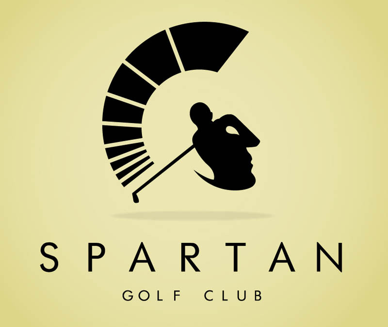 This one is interesting…do you see a spartan helmet first or a golfer first? Spartan Golf Club Logo