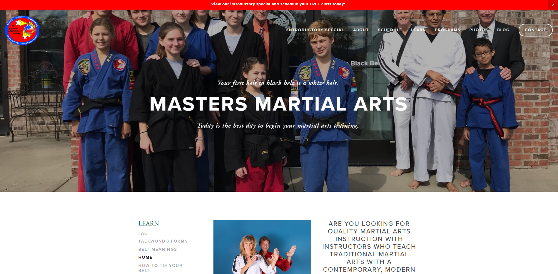 Masters Martial Arts Website by Mill Creek Creative