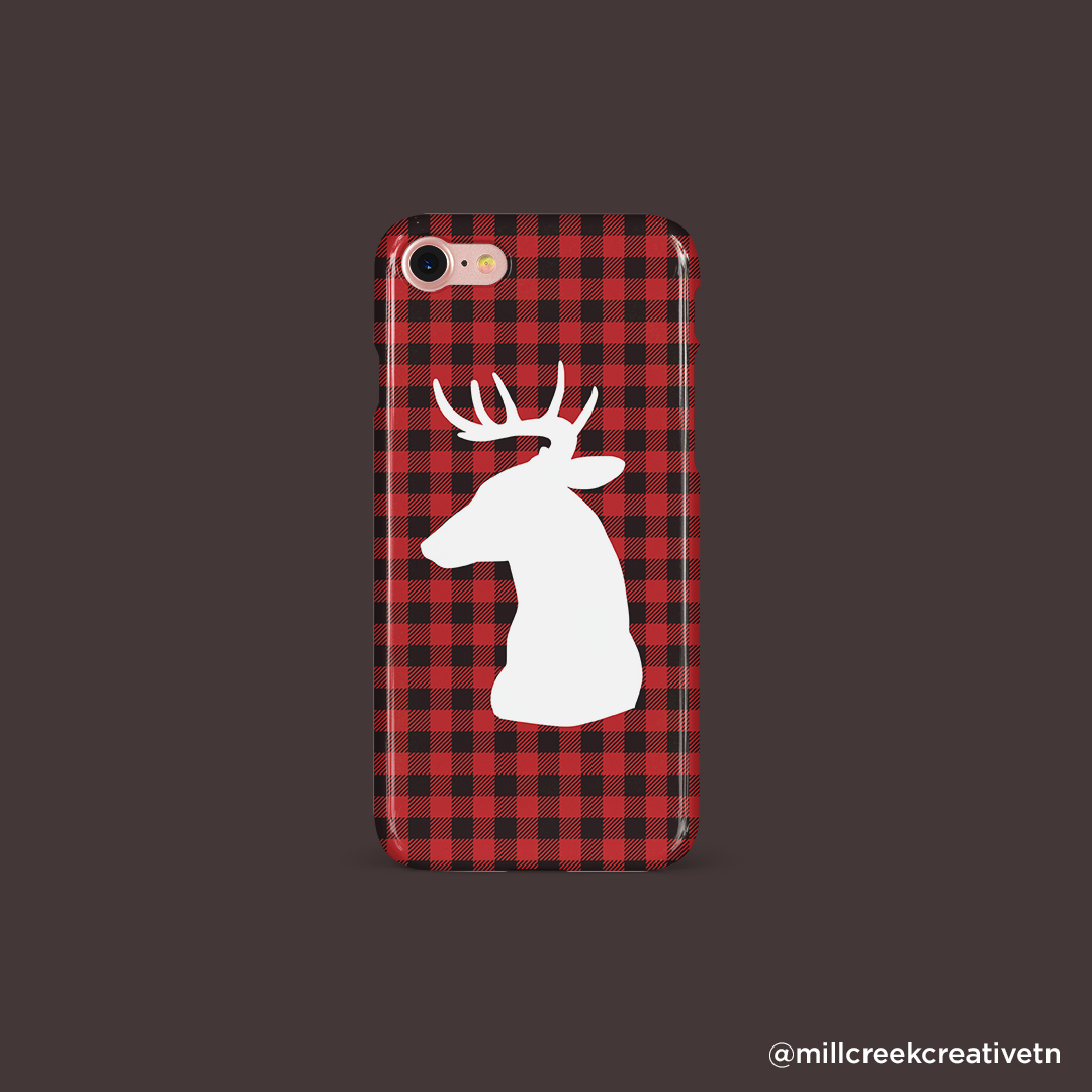 Buffalo Plaid Phone Case with Deer Head Silhouette | Mill Creek Creative