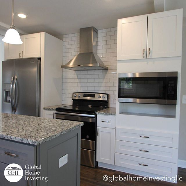 "You wouldn't think adding anything with the word ""subway"" in it would add class and sophistication to your home, but white subway tiles create such an simple and charming back splash for a kitchen. What kind of back splash do you prefer in a kitchen? Let us know in the comments! ⠀ ⠀ .⠀ .⠀ .⠀ .⠀ .⠀ .⠀ .⠀ .⠀ .⠀ ⠀ #kitchen #kitchendecor #kitchenrenovation #renovation #home #homerenovation #fixerupper #fixerupperstyle #fixandflip #realestate #realestateagent #realtor #realestateinvestor #investor #goalgetter #entrepreneur #designer #interiordesigner #interiordesign #design"