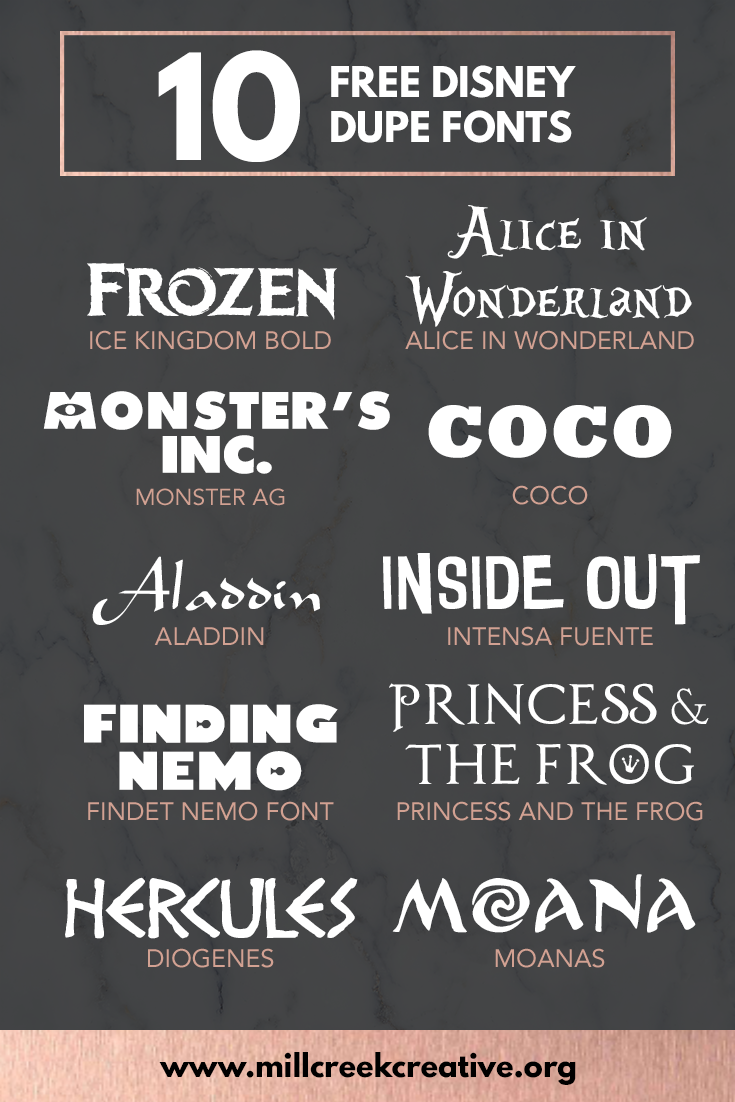 10 Free Disney Dupe Fonts | Mill Creek Creative