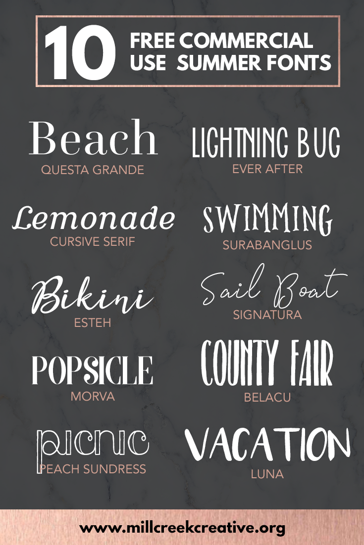 10 Free Commercial Use Fonts For Summer — Mill Creek Creative