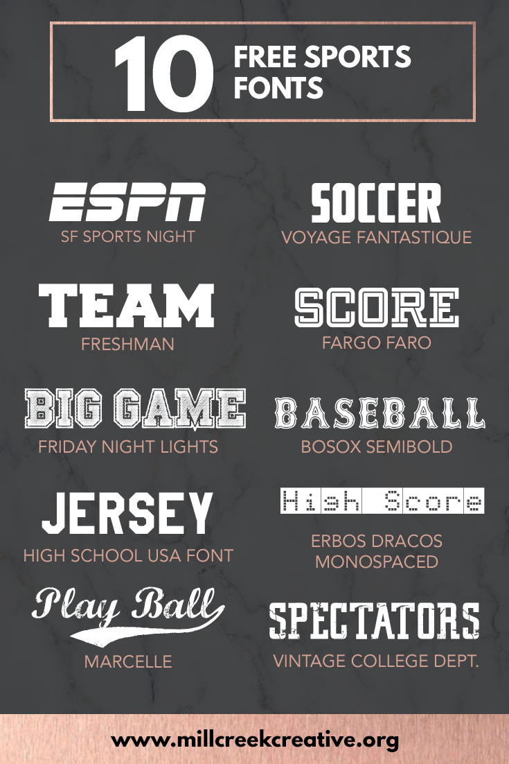 10 Free Sports Themed Fonts | Mill Creek Creative