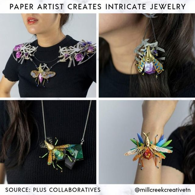 Artist Spotlight: Singapore-based studio Plus Collaboratives created an insect-inspired jewelry line all out of paper! They created it using the Fuji Xerox's Iridesse™ Production Press, which allowed them to print metallics. The process took three months of learning the machine, designing, prototyping and assembly. The end result is stunning! #pluscollaboratives #paperart #art #artist #design #printing