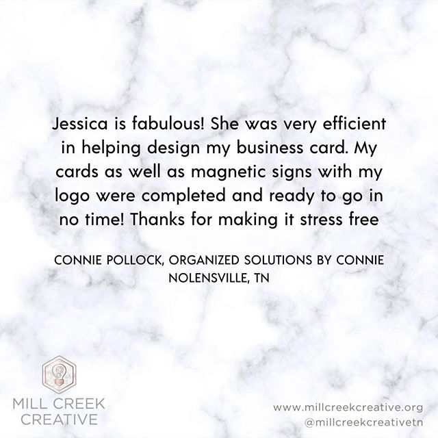 Thank you for the lovely review Connie ❤️ ⠀ ⠀ ⠀ .⠀ .⠀ .⠀ .⠀ .⠀ .⠀ .⠀ .⠀ .⠀ ⠀ ⠀ #millcreekcreative #nolensville #nolensvilletn #graphicdesign #graphicdesigner #designer #webdesign #marketing #socialmediamarketing #nashville #nashvilletn #nashville_tn #brentwood #brentwoodtn #franklintn #visitfranklin #smyrnatn #antiochtn #middletennessee #tennessee