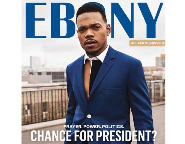 "This Editor's Letter originally ran in the June 2017 #BlackMusicIssue of EBONY magazine.    You can't blame folks for wanting our cover star to run for public office. C h a n c e the Rapper is single-handedly trying to save the arts in Chicago schools, encourage reading among children through his work with the Chicago Public Library system and, at the same time, ensure his fans are treated fairly by railing against scalpers with tenacity and tech savvy. Unlike the orange-hued and mercurial man-child currently running this country, Chance truly is an outlier who thumbs his nose at the record industry and successfully exists outside the machine. To put it plainly: He's a boss. This was evident during every moment of our fun-filled cover shoot here in EBONY's (and his) hometown of Chicago. Flanked by a crew of creative, amiable individuals, the rapper with a voice that walks the line behind Wyclef Jean and Kanye West, weathered the cold on a rooftop here in the aptly named ""Windy City."" ""The Hawk,"" an invisible beast with talons of ice that we Chicagoans know all too well, did not disappoint, swooping down and driving most of us nearly to tears.  That didn't stop Chance from donning a suit, shunning his trademark ""3"" baseball cap and standing Scarface-style on top of the world. Well, on top of the West Loop studio where we shot, anyway. But back to my point, Chance is the perfect embodiment of this issue's theme, music, specifically the Black contribution to this art form. The teddy bearesque talent's individuality, free spirit, shrewdness and selflessness are what we should admire in artists. His financial and emotional contributions to the youth of Chicago, so maligned in the mainstream media, show them that he cares … that we care. Rappers brag about putting on for their cities. Here's one who does the actual work. Too often we allow our idols to backslide, sacrifice their voices for mainstream acceptance and all but turn a blind eye to the streets that forged them—that is, unless said streets can give them the ""cred"" that boosts their bank accounts. (Present-day mumble-mouth ""rappers"" and hotep hip-hoppers of the '90s, I am looking squarely at you.) Chance is a fearless reminder of what we can ask from those we shell out hardearned income to see in concert or whose lyrics we litter our time lines with.  This young man—a young father, to be exact—is a role model, as you'll learn without a doubt in an excellently written piece by EBONY alum Adrienne Samuels Gibbs. Reading it will be music to your eyes. Speaking of music, I cannot end without acknowledging Chuck Berry, who passed away at the age of 90 in March. Berry, with his guitar-god status and perfectly coiffed 'do, is credited as one of the architects of rock 'n' roll as we know it. A salute to him, and the late, great Al Jarreau, whom we feature on our ""From the EBONY Archives"" page in honor of the multiple- Grammy winner's imprint on jazz, pop and R&B with his smooth, sweet sound. If the afterlife works the way I think it does, there's a sold-out jam session up there with both their names on the marquee."