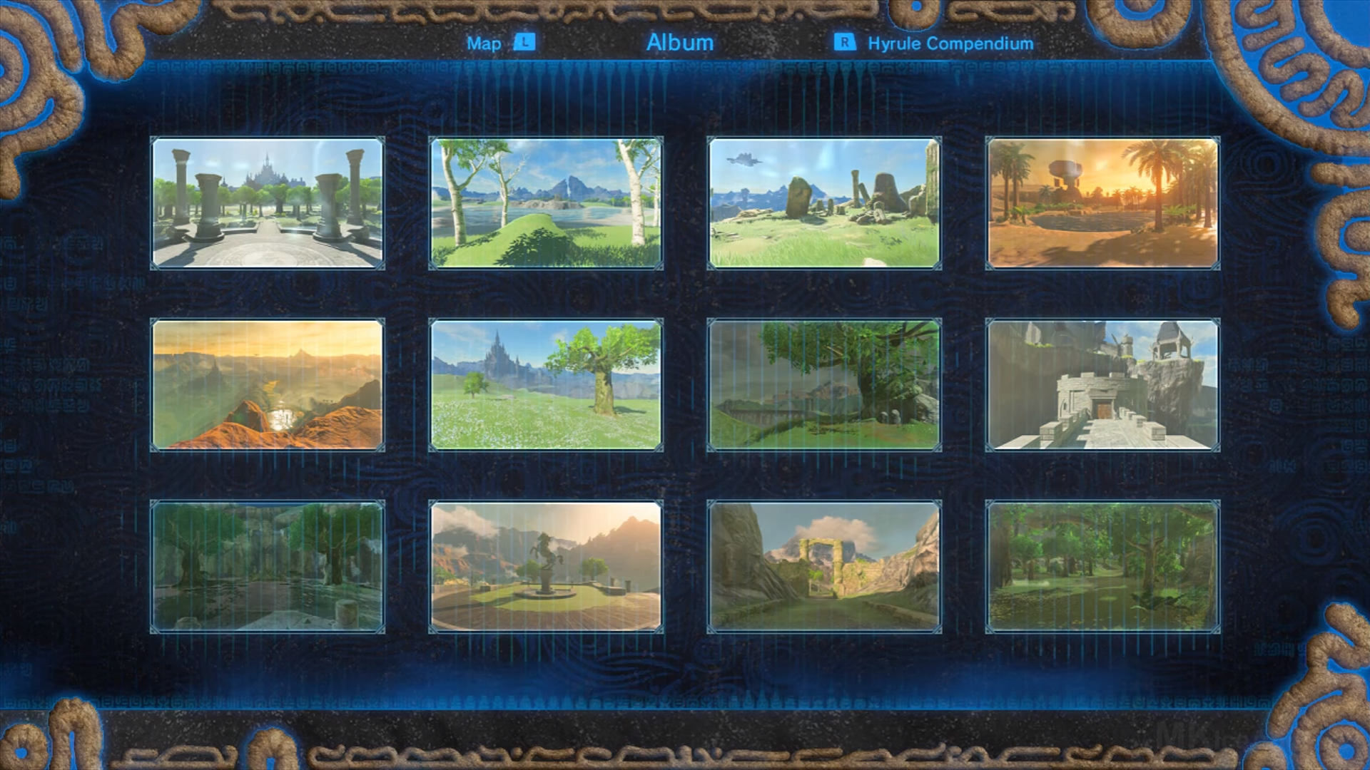 Pictures of each location  players must visit in the Captured Memories Main Quest