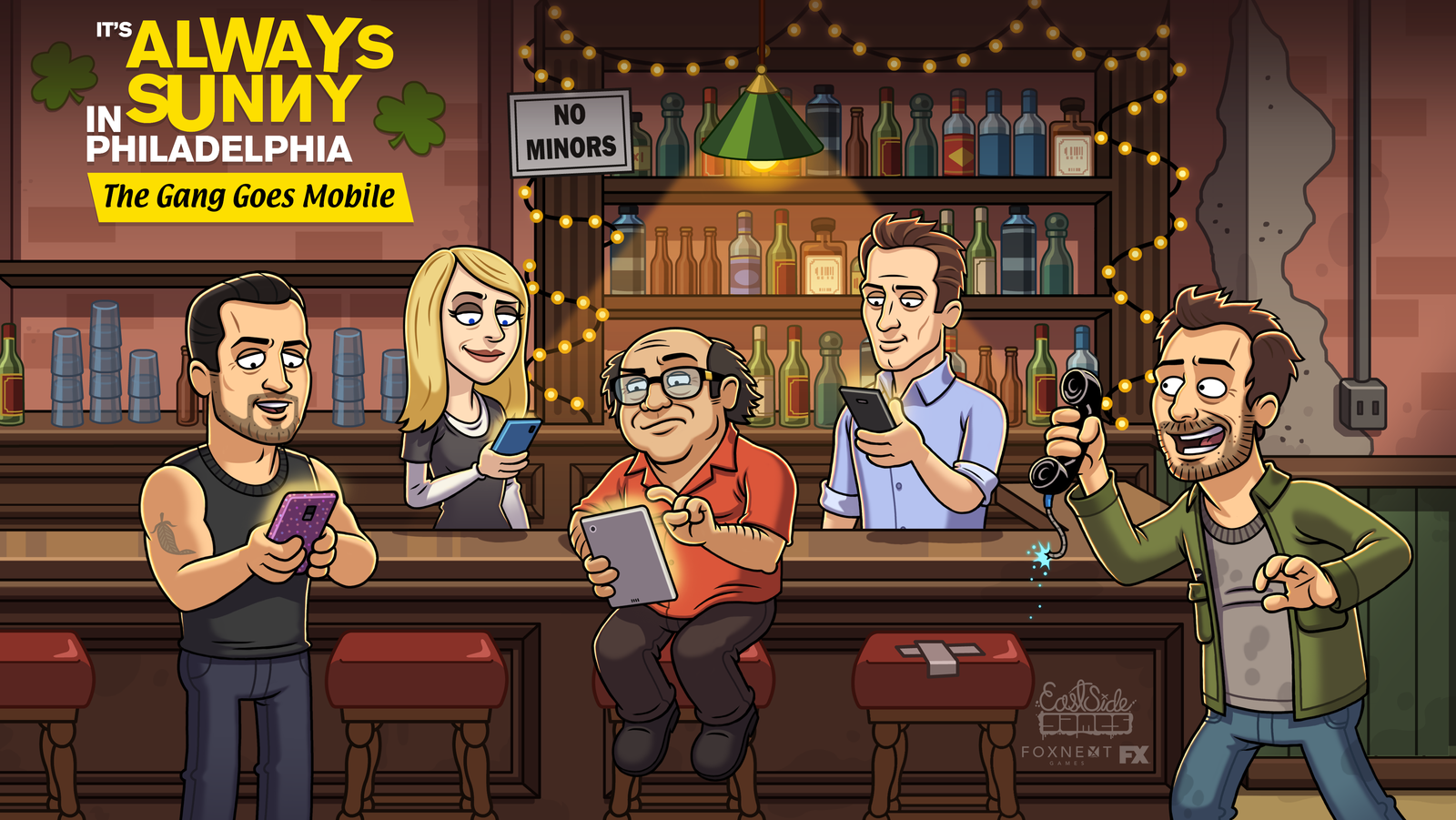 It's Always Sunny in Philadelphia The Gang Goes Mobile - Description:Tap your way through the worst bar in Philadelphia! Team up with The Gang from It's Always Sunny -- Mac, Dennis, Charlie, Dee, and Frank -- the hilariously dysfunctional, self-obsessed group of friends, and start schemes to launder Frank's dirty money.Roles:Quality Assurance AnalystAssistant Writer