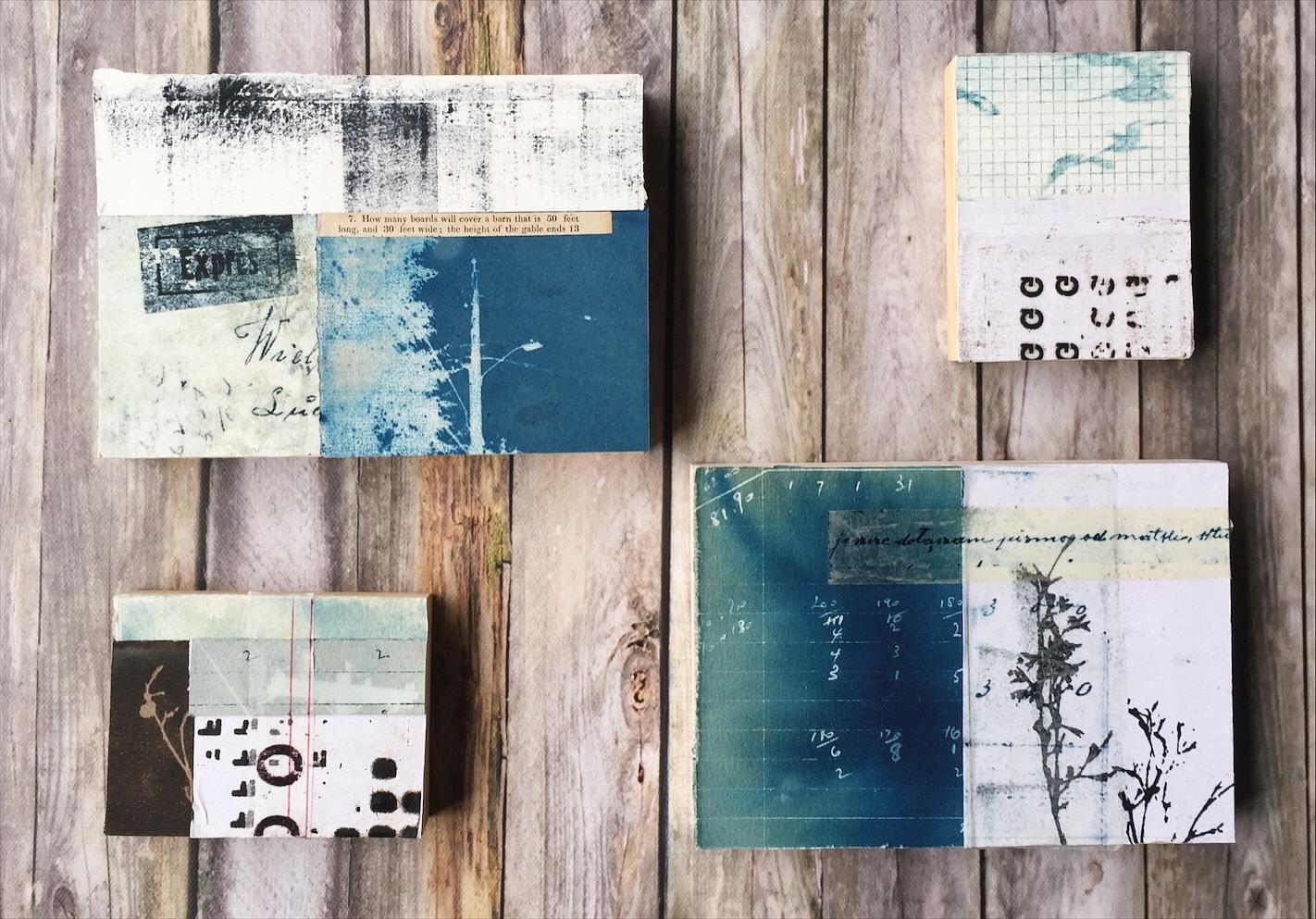 blue collage artwork