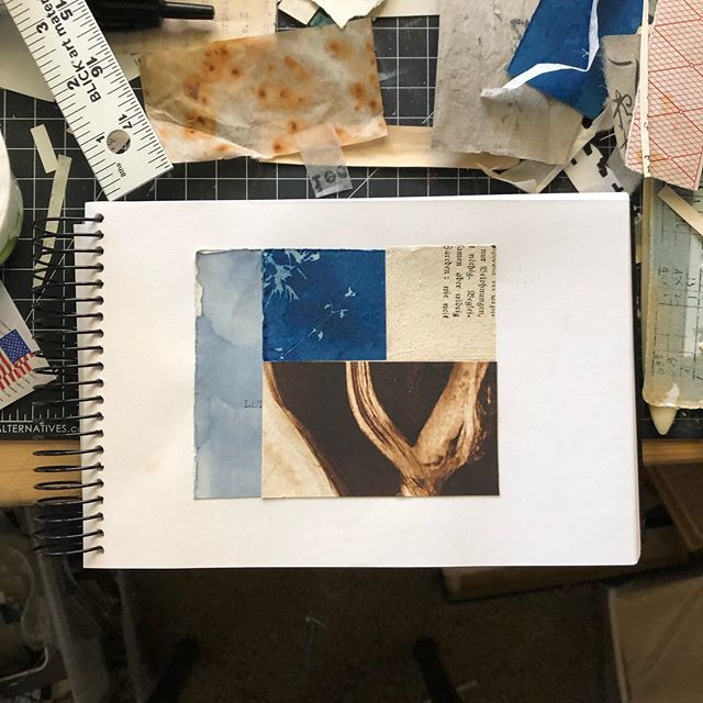 Quick simple sketchbook collage, using a bit of @ebnersart discarded print.  #collage #collageart #collage_creatives #calledtobecreative #cutandpaste #kristamccurdy #kristamccurdyart #printmaking #sketchbook #sketchbookpage #portlandart #portlandartist #portlandartists