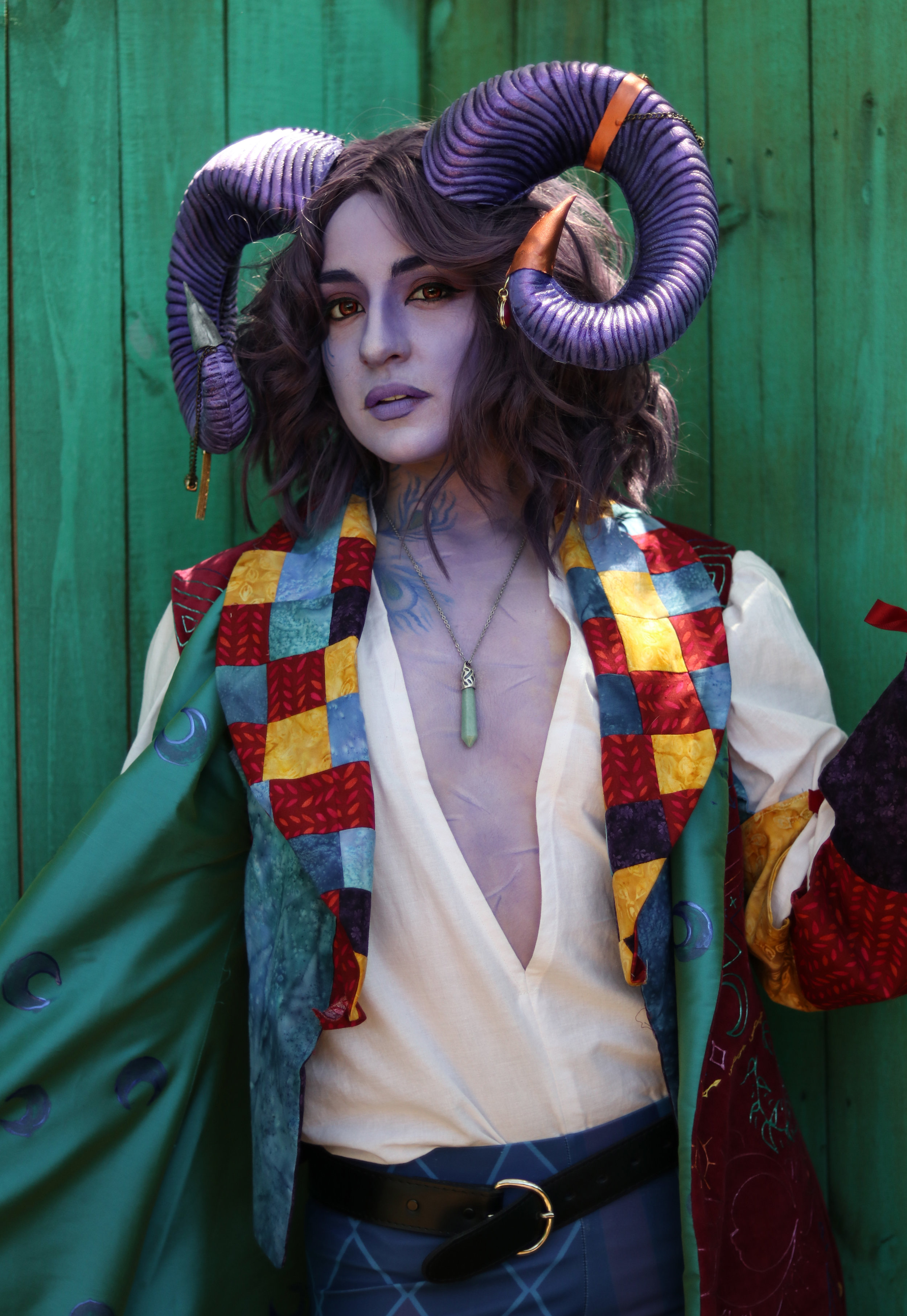 Photos by Sam Hunter  @shunter_  at the Bay Area Renaissance Festival  Coat, bolero, and shirt sewn and hand painted by Violet Leggings are Alysaa Avery on Redbubble Horns are modified Elope costume horns painted with Golden acrylics