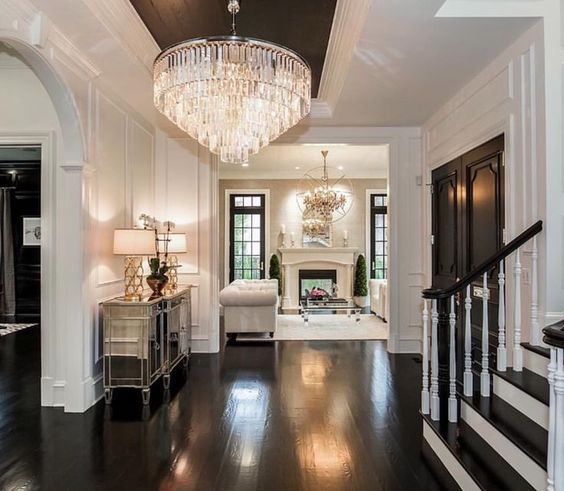 By  Castlewood Custom Builder s - Dark flooring, dark windows, dark doors and even a pop of black on the ceiling are just loveee