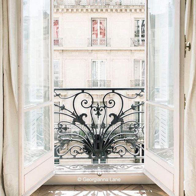 WROUGHT IRON - As balconies, just like the ones adorning the street of Paris. Delicate detailings and yet prominent at the same time. Always best kept in an all black appeal!