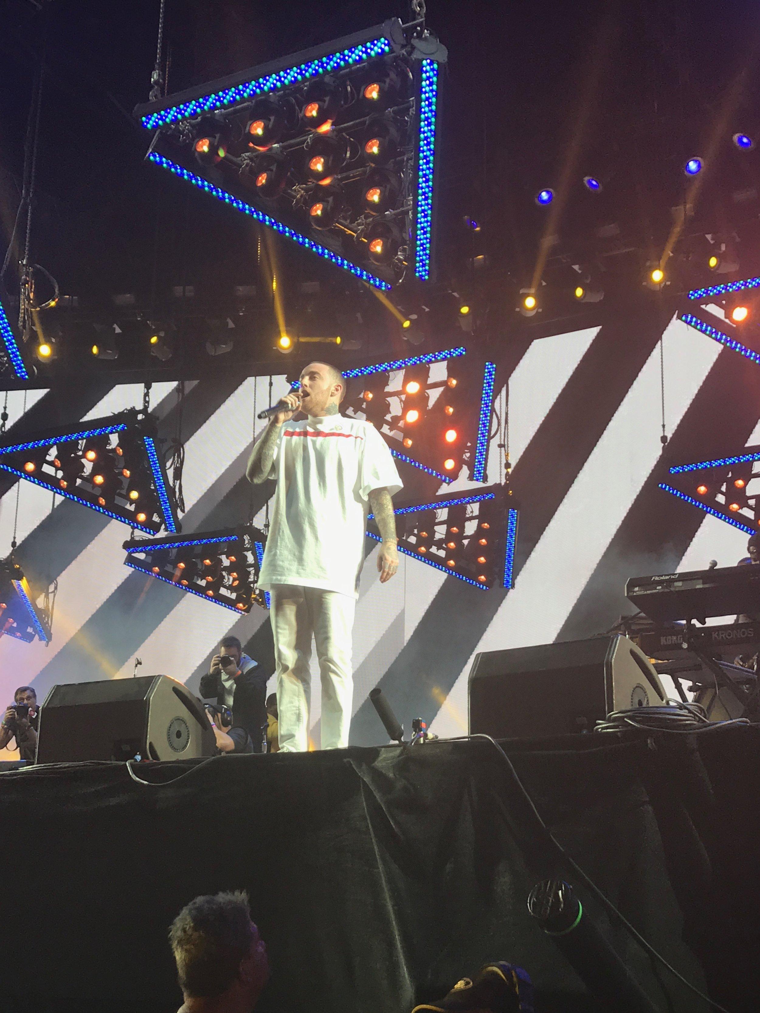 Mac Miller performing at the Sahara Tent