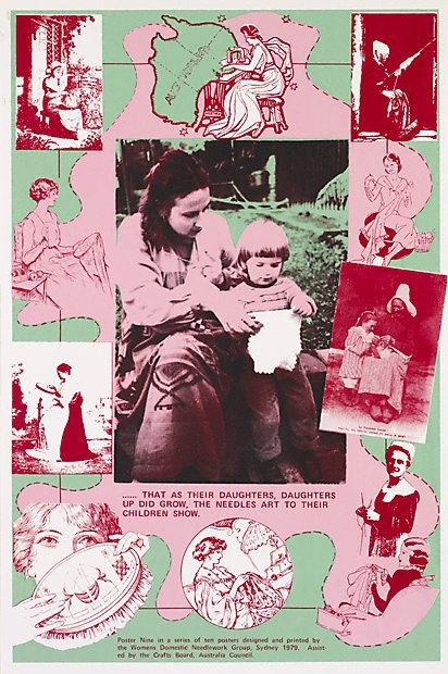 Women's Domestic Needlework Group, Sydney, Marie McMahon , Frances Phoenix ,  That as their daughters, daughters up did grow, the needle's art to their children show, from    The D'Oyley Show  , 1979, colour screenprint on thin white wove paper, 73.8 x 48.5 image; 79.0 x 51.0 cm sheet