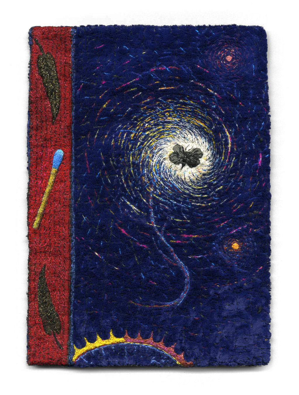 "Tom Lundberg,  Breviary , 2010, 7"" x 5"", Cotton, silk, and metallic threads on rayon velvet"