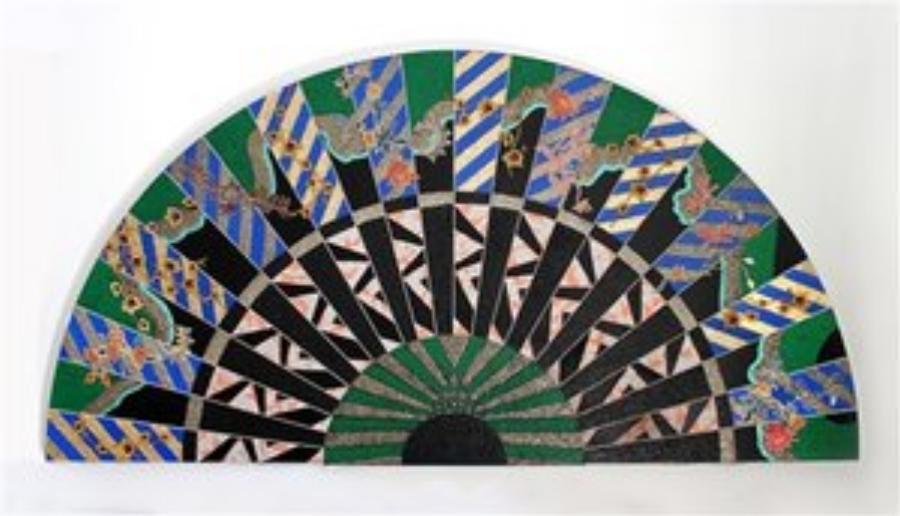 Miriam Schapiro,  Mexican Memory,  1981, Acrylic, fabric, and glitter on canvas, 48 x 96 in
