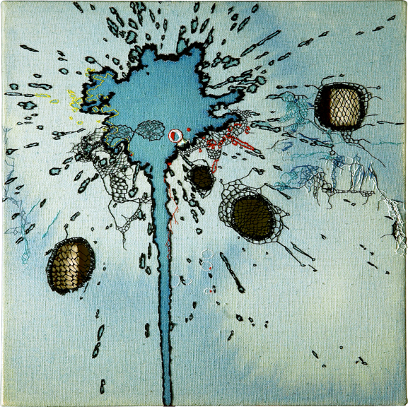 """Nava Lubelski, Spring at the Pole , 2006, thread and ink stains on canvas, 12"""" x 12"""""""