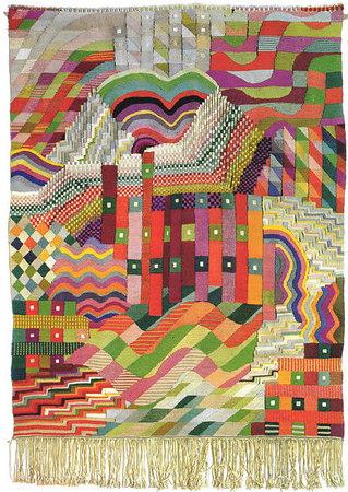 "Gunta Stölzl, Wall Hanging, ""S lit Tapestry Red/Green""  1927/28,Gobelin technique Cotton, silk, linen 150x110 cm"