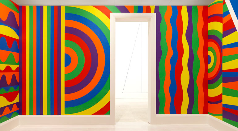 Sol LeWitt  Wall drawing #1091: arcs, circles and bands (room)  2003, painted room on 4 walls, Art Gallery of NSW