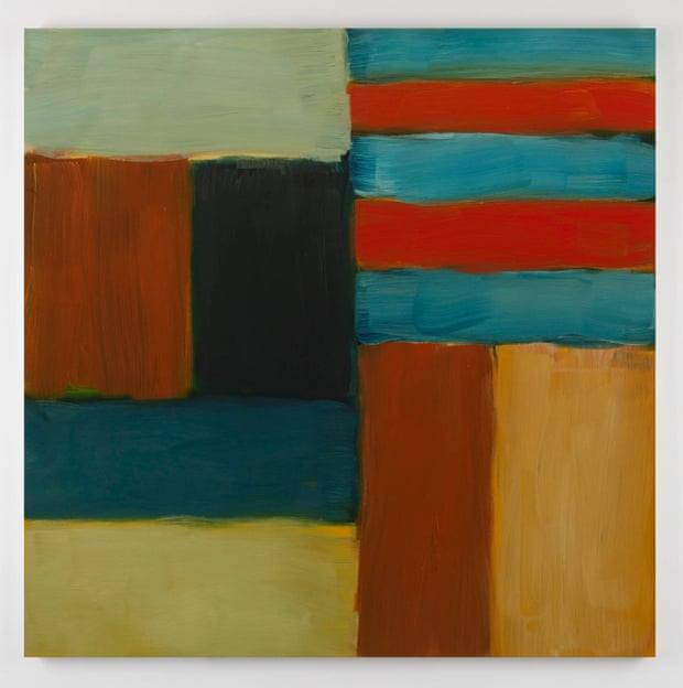 Sean Scully,  Cut Ground Blue Red  2011, oil on linen, 153 x 153 cm