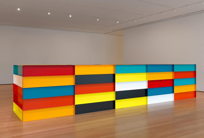 Donald Judd,  Untitled  199, Enameled aluminum, 150 x 750 x 165 cm