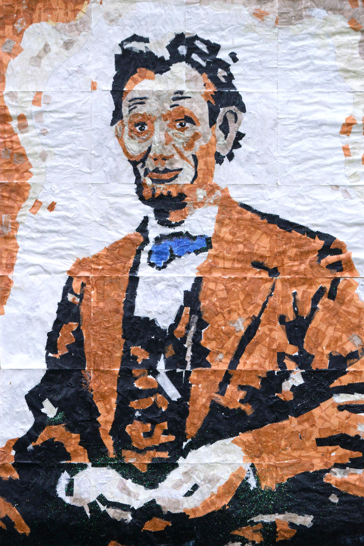 "Abraham Lincoln  ~ Paper Tissue Collage ~ Group Project comprised of 24 individual squares, 40"" x 60"""
