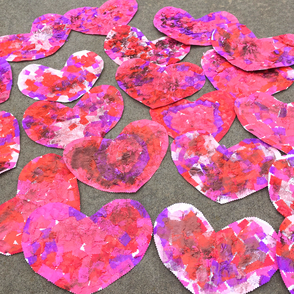 Paper tissue  collage hearts