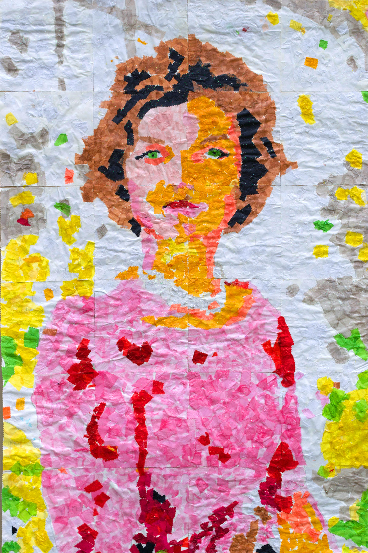 "Jacqueline Kennedy  ~ Paper Tissue Collage ~ Group Project comprised of 24 individual squares, 40"" x 60"""
