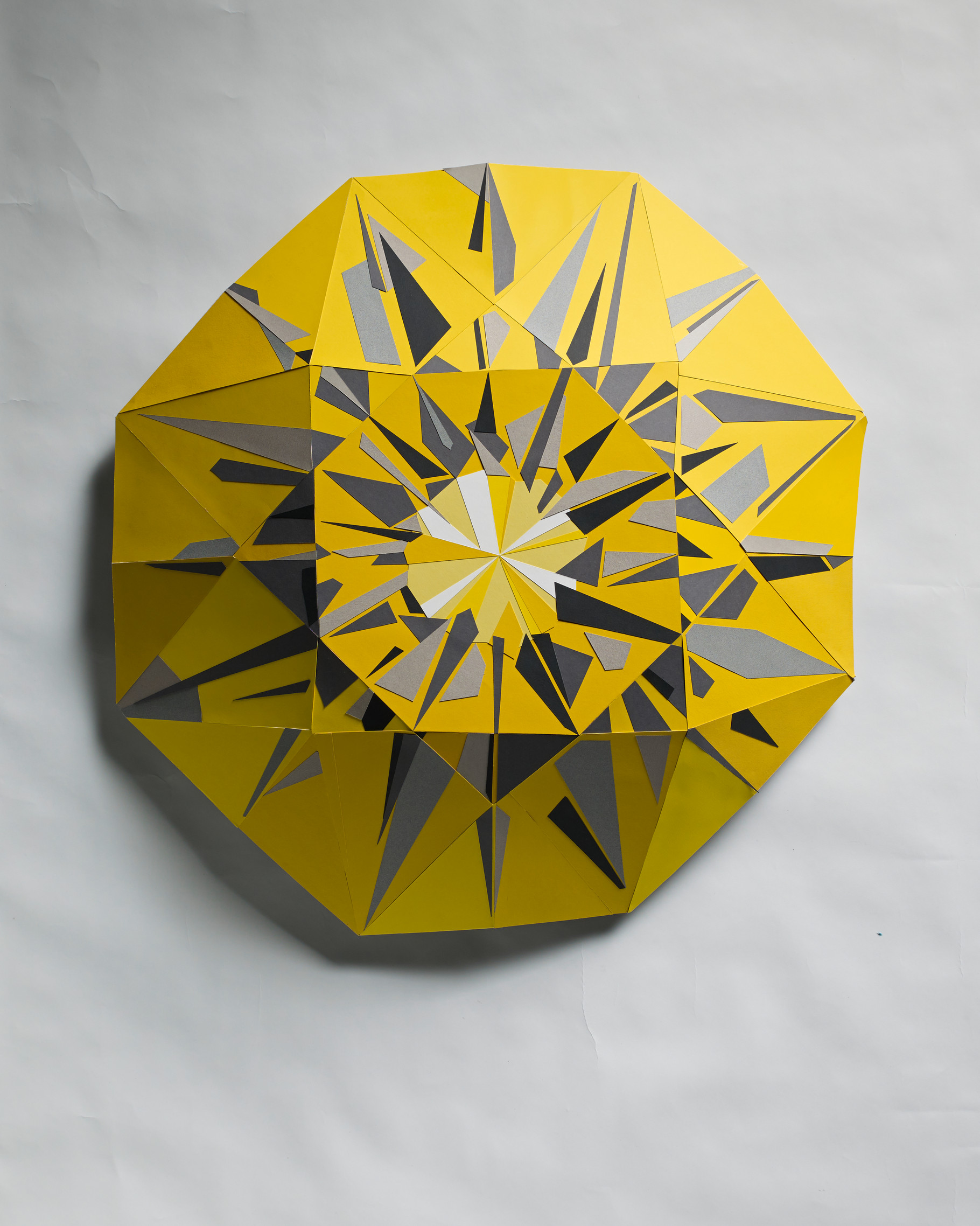 Yellow Diamond - Three dimensional paper mosaic made with colored photo mounting board.Diameter approximately 85cm depth: 17cm