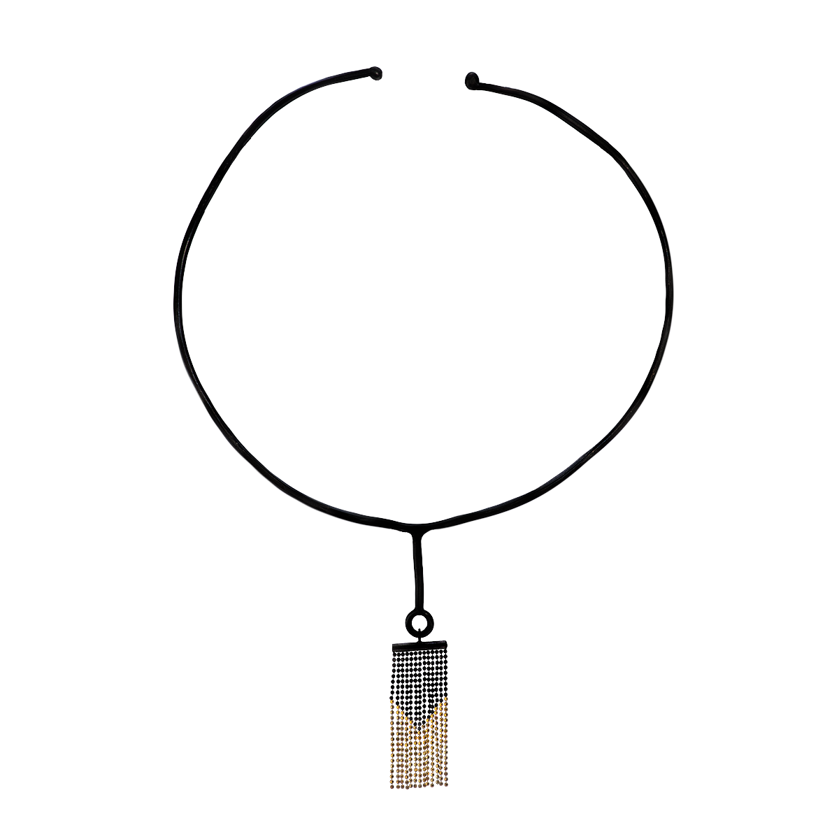 Gold and Black Silver Tassel Necklace - 1.png