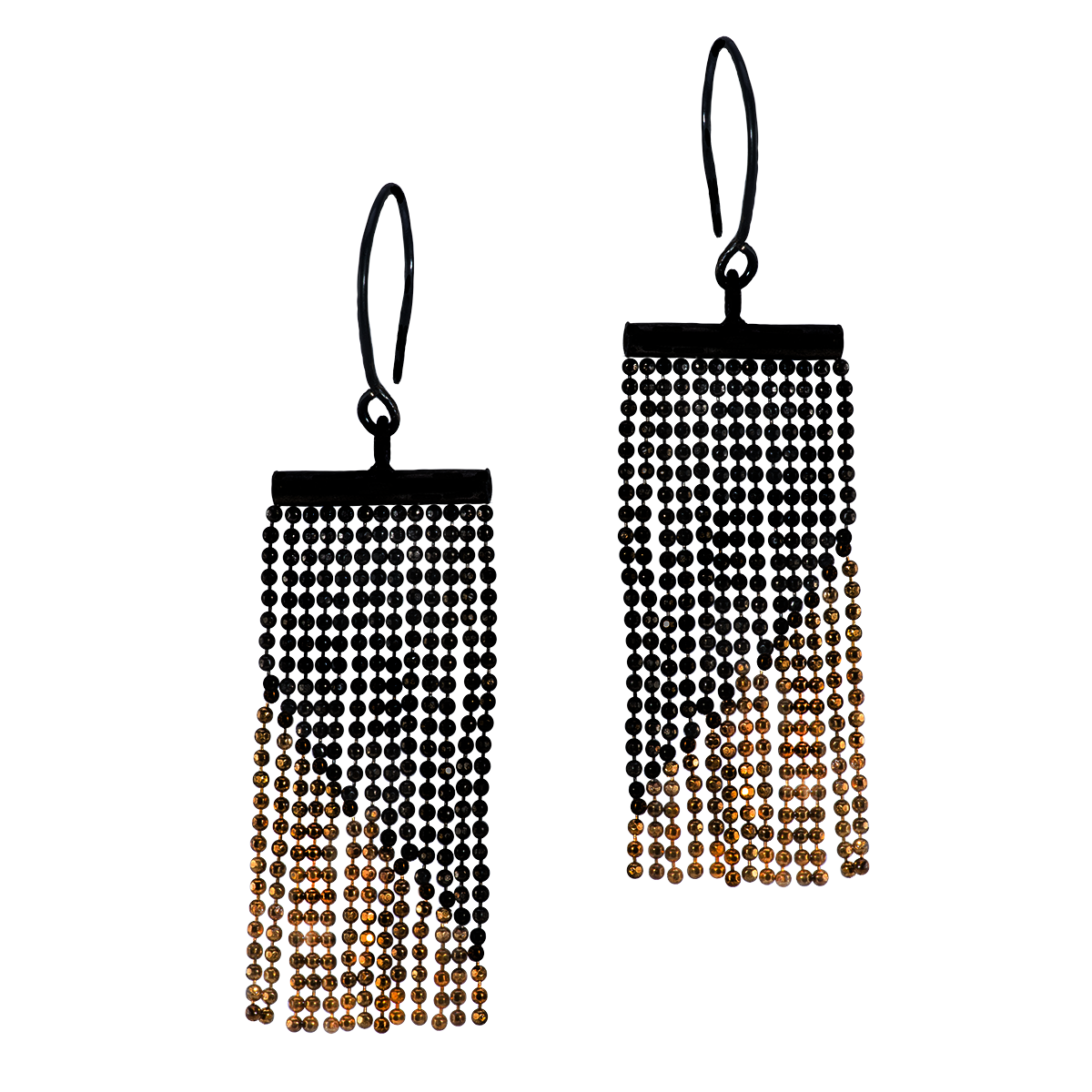 Gold and Black Silver Tassel Earrings - 3.png