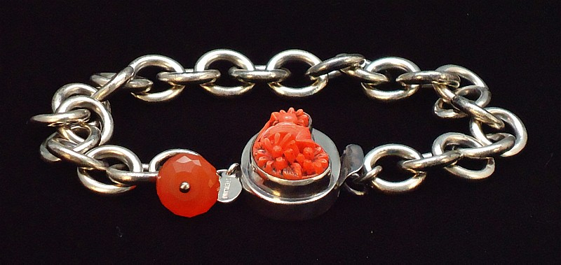 Heavy Weight Chain With Resin Box Clasp And Carnelian Dangle Black Velvet 2 copy.JPG