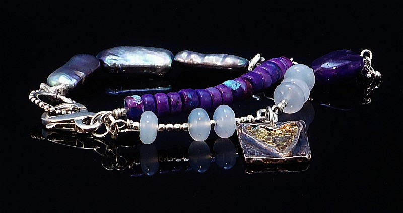 Sterling Silver, Natural Purple Turquoise, Handmade Fine Silver Charm with 24K Gold Overlay, Chalcedony and Grey Tablet Pearl Hand Knotted Silk Bracelet with Natural Amethyst Dangle 2.JPG