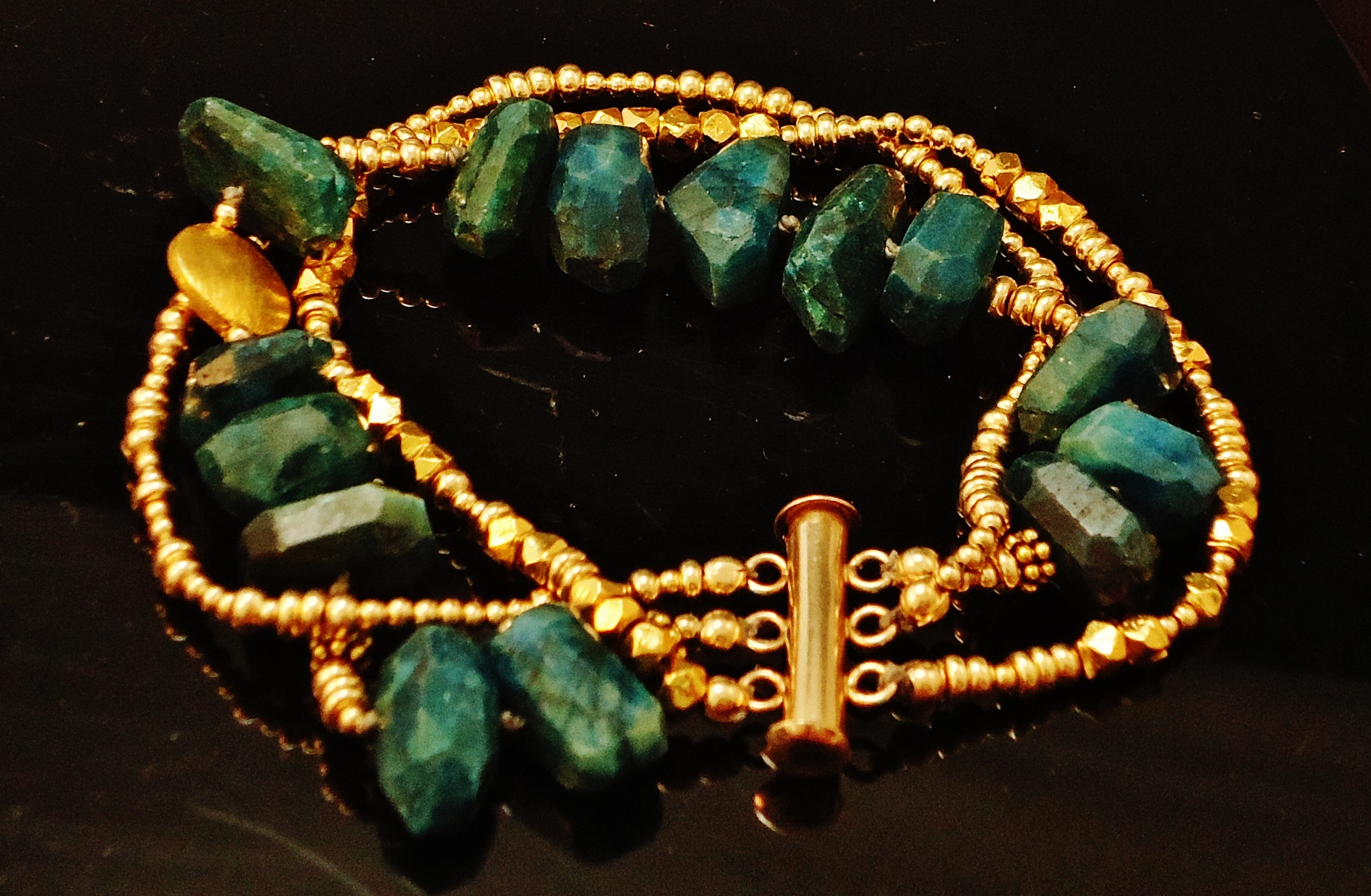 Bracelet with Dyed Chrysocolla and GF Beads.JPG
