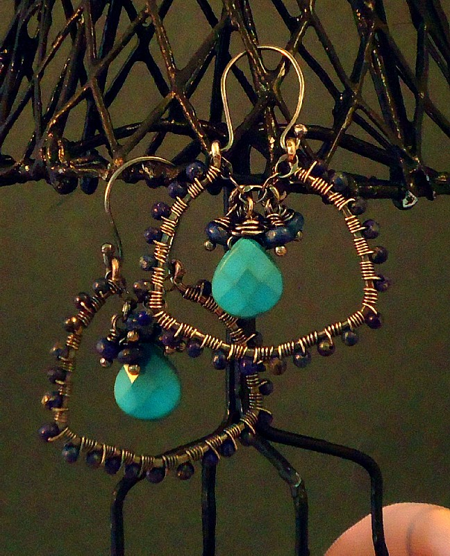 Oxidized Sterling Silver, Lapis Lazuli & Faceted Turquoise Briol