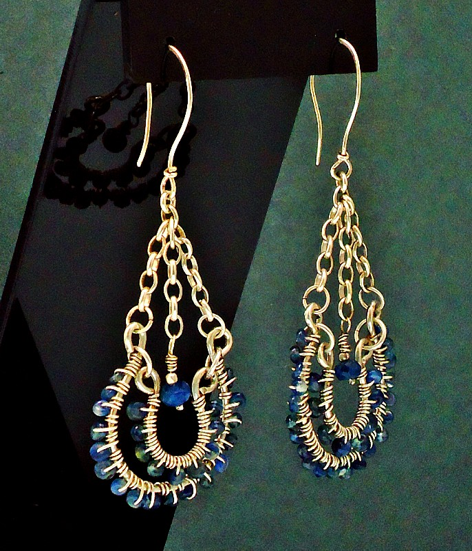 Sapphire & Sterling Silver Chandelier Earrings 1.JPG