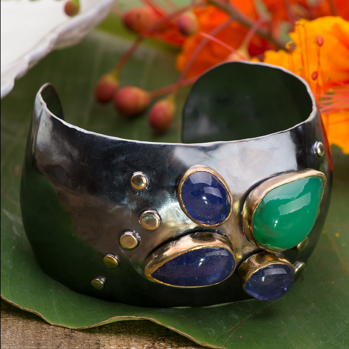 Tanzanite & Chalcedony Statement Cuff