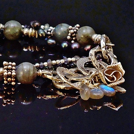 Sterling Silver, Balinese Handmade Beads & Charms, Labradorite, Tanzanite and Freshwater Pearl Hand Knotted Bracelet With Handmade Fine Silver Chain Accent 2.JPG