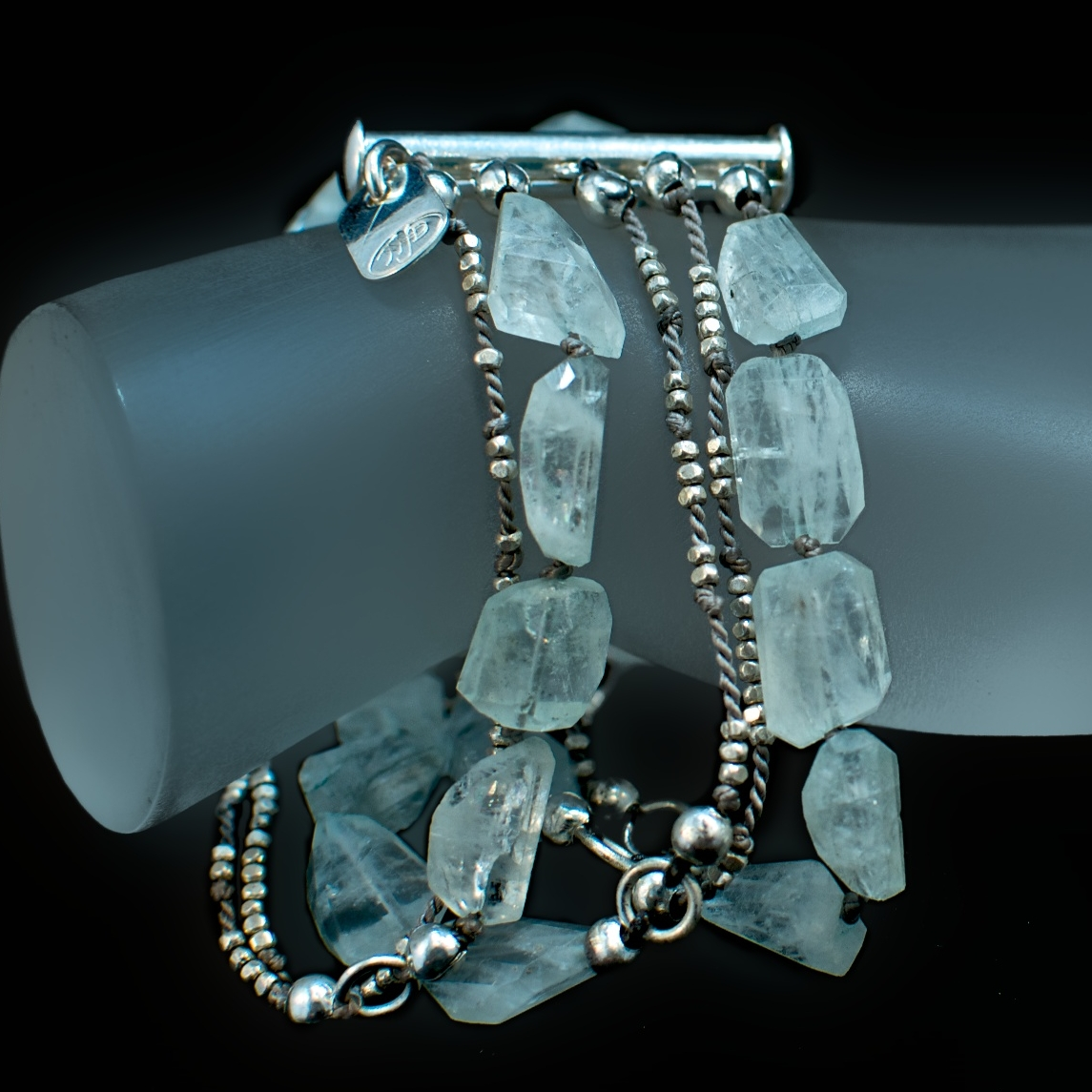 Aquamarine Nugget and Tiny Sterling Bead Multi Strand Bracelet