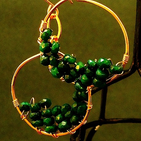 14K Gold Fill & Hand-Cut Coulmbian Emerald Hoop Earrings 3.JPG