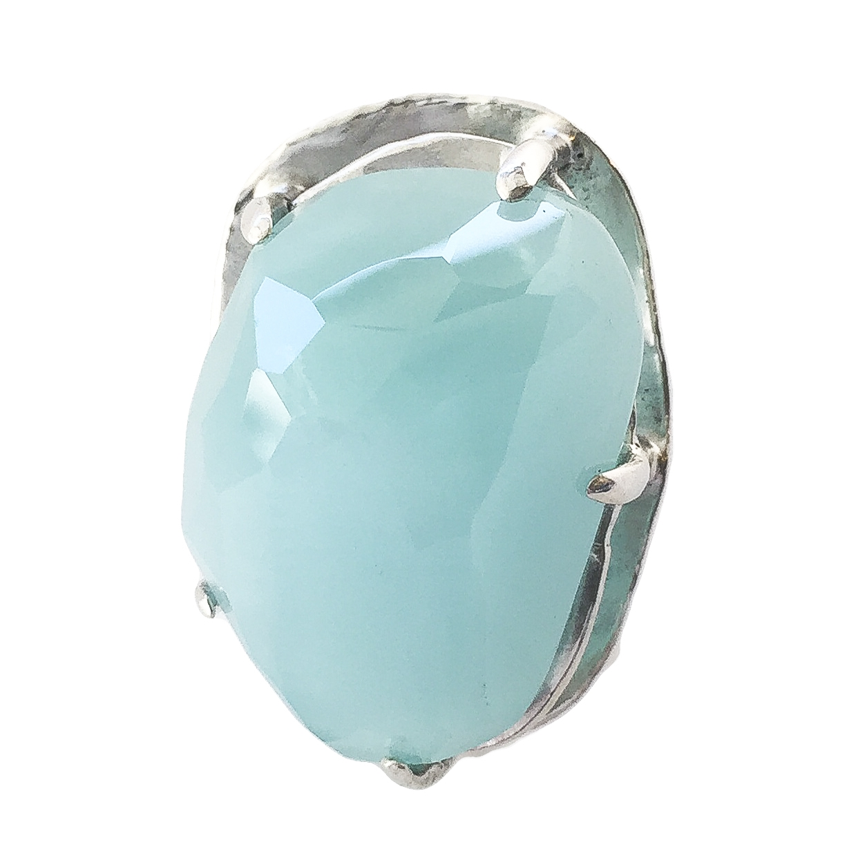 Aquamarine Nugget Large Prong Ring - 1.jpg