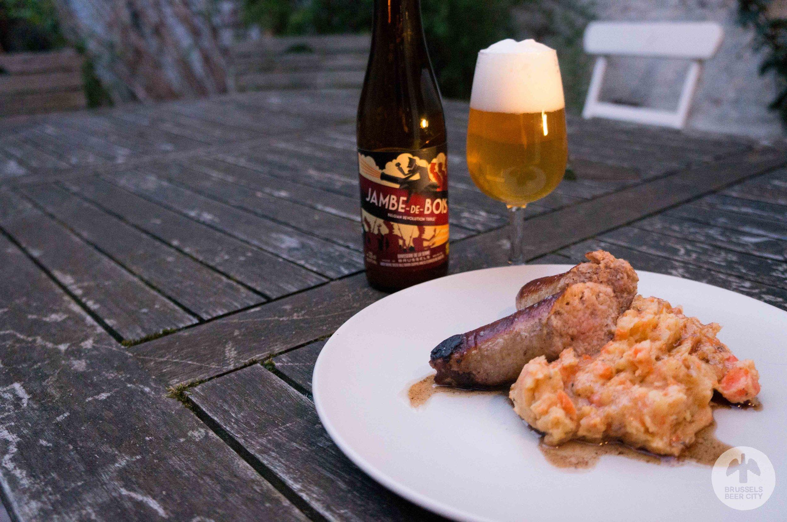 Stoemp with Brasserie de la Senne Jambe-de-bois