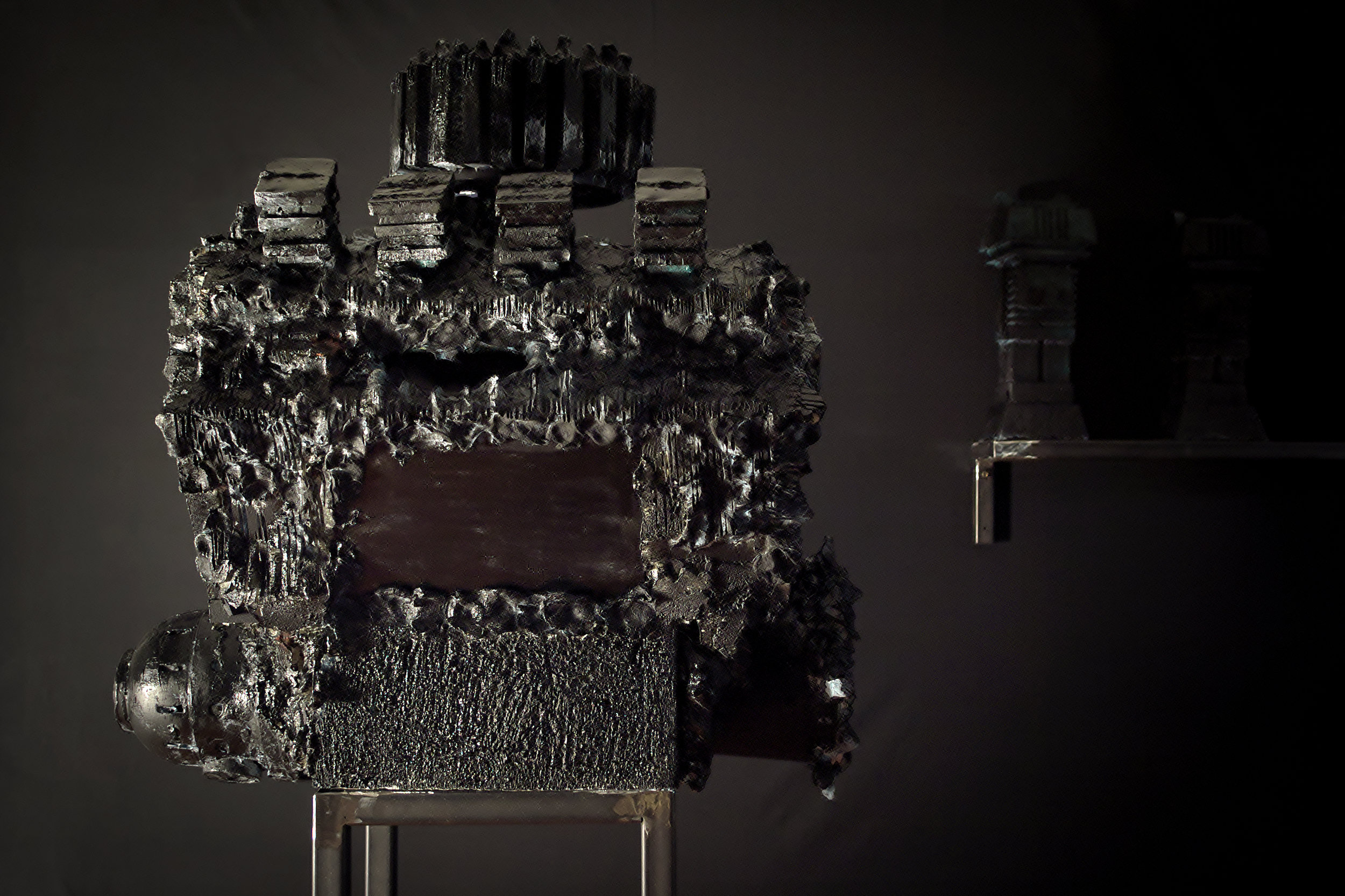 A V8 Engine inspired sculpture at By Other Means, London