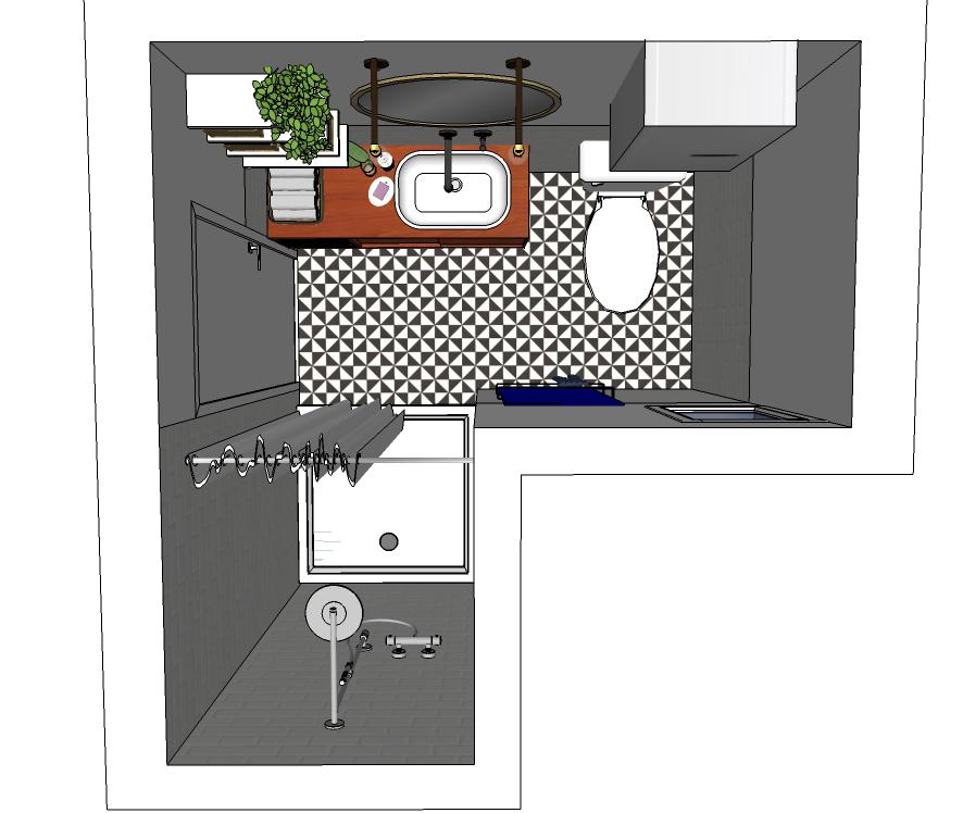 Tloris kopalnica, notranje oblikovanje - POKE studio